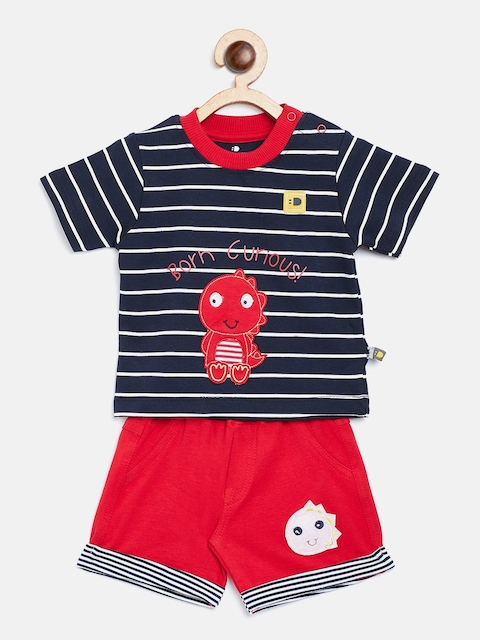 BRATS AND DOLLS Unisex Navy Blue & Red Striped T-shirt with Shorts