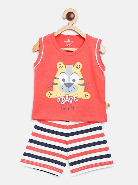 BRATS AND DOLLS Unisex Coral Orange & White Printed T-shirt with Shorts