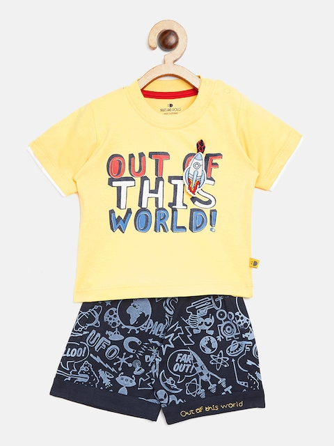 BRATS AND DOLLS Unisex Yellow & Navy Blue Printed T-shirt with Shorts