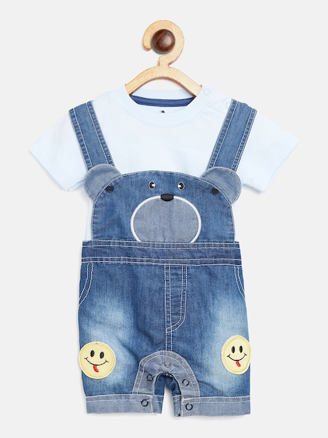 BRATS AND DOLLS Unisex Blue Denim Dungarees with T-shirt