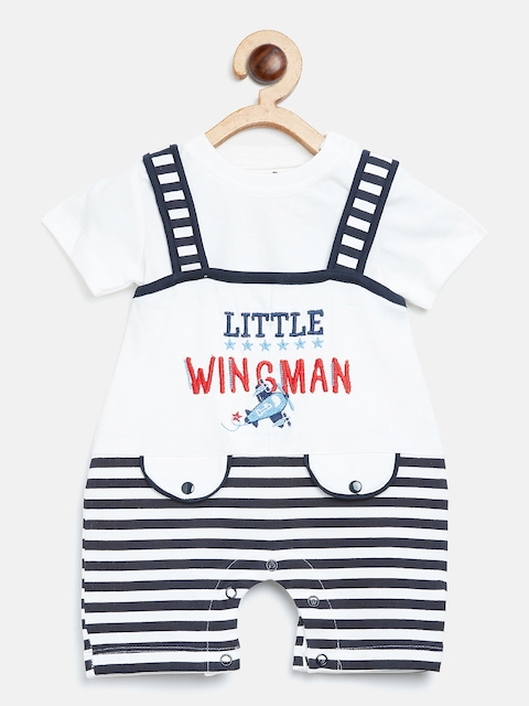 BRATS AND DOLLS Kids White & Black Solid T-shirt with Dungarees