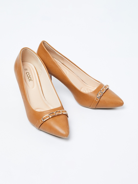 CODE by Lifestyle Women Tan Brown Solid Pumps