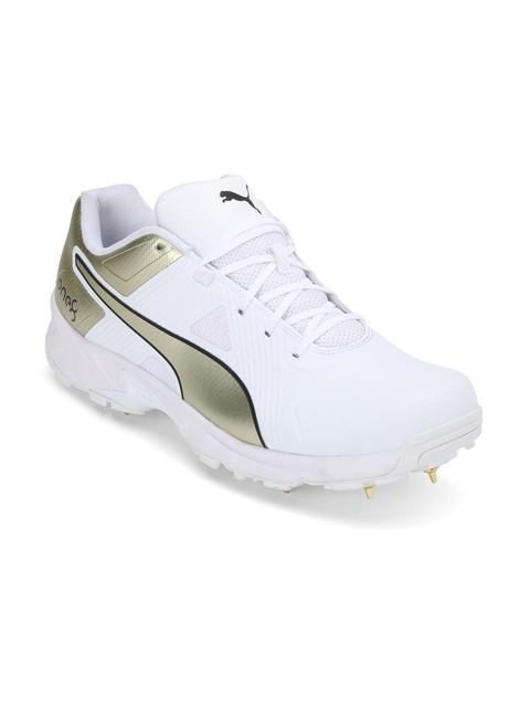 Virat Kohli X PUMA One8 Men White Spike 19.1 Gold Collectors Edition Cricket Shoes