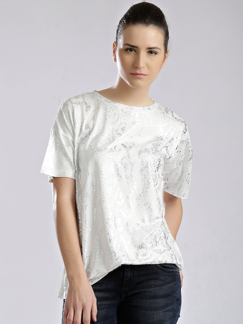 French Connection White Shimmer Print T-shirt