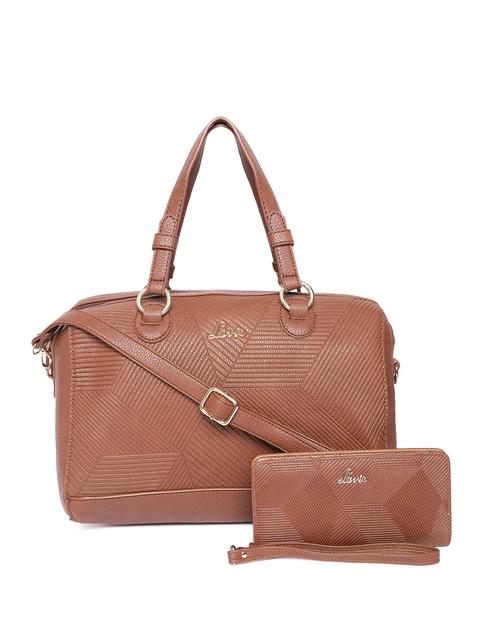 Lavie Women Set of Brown Textured Handbag & Wallet