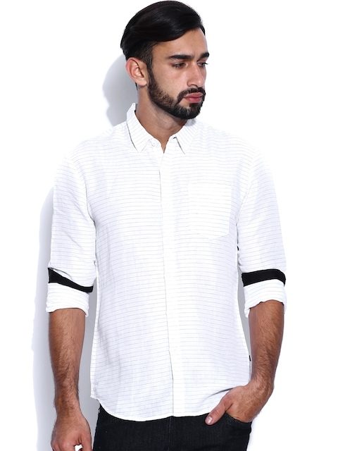 Levi's Redloop Off-White Linen Striped Casual Shirt