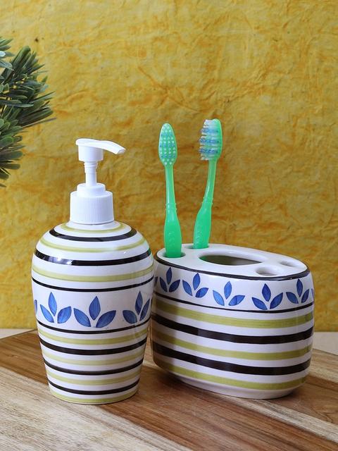 VarEesha Off-White & Yellow Ceramic Bath Accessories