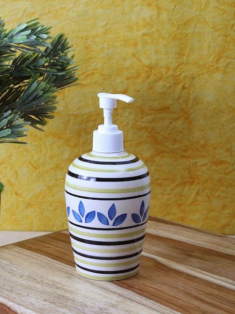 VarEesha Off-White & Yellow Ceramic Soap Dispenser