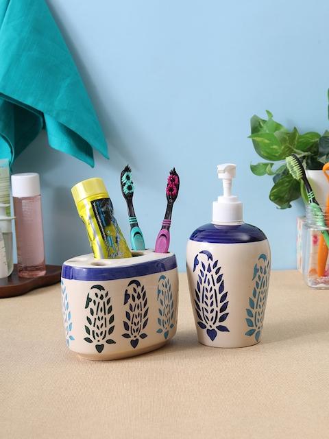 VarEesha Off-White & Blue Ceramic Bath Accessories