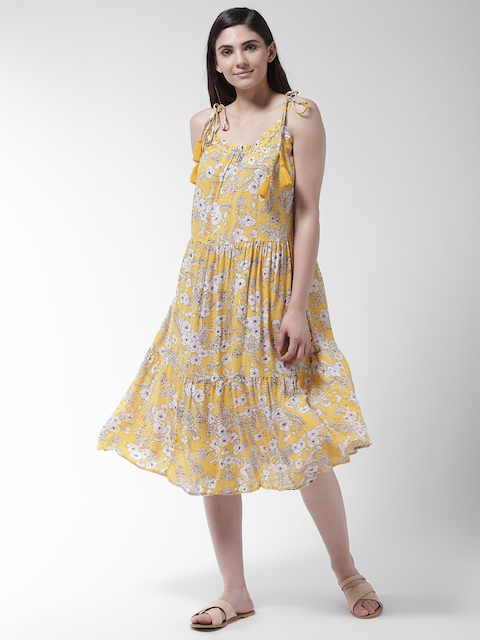 Marks & Spencer Women Yellow & White Tiered Printed Midi Cover-Up Dress