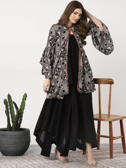 Sangria Women Black & Beige Solid Top with Palazzos & Ethnic Jacket