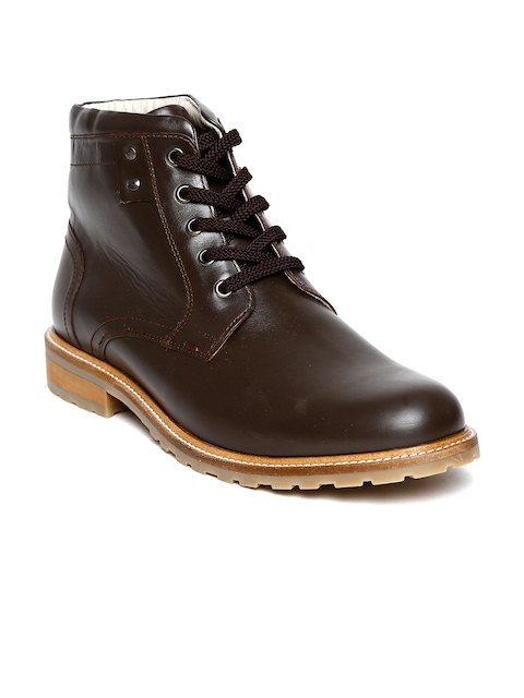 United Colors of Benetton Men Brown Leather Boots
