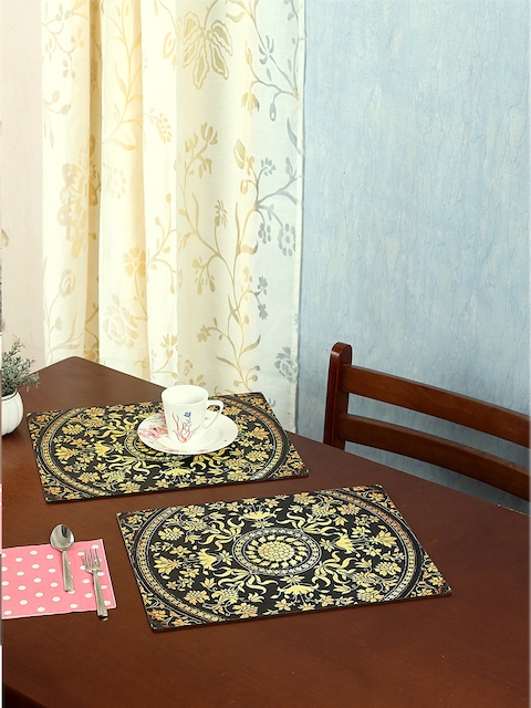 Reinvention Factory Set of 6 Black & Yellow Printed Table Placemats