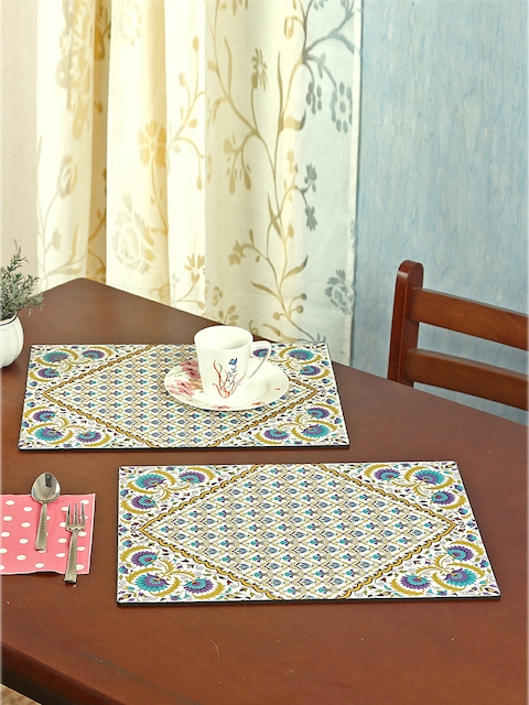 Reinvention Factory Set of 6 White & Multicoloured Printed Table Placemats