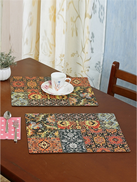 Reinvention Factory Set of 6 Black & Multicoloured Printed Table Placemats
