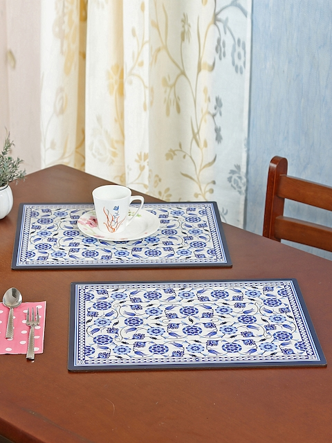 Reinvention Factory Set of 6 Blue & White Printed Table Placemats