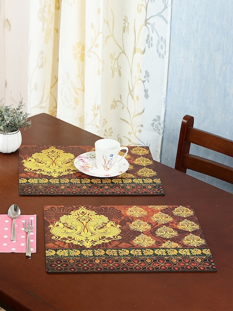 Reinvention Factory Set of 6 Maroon & Yellow Printed Table Placemats