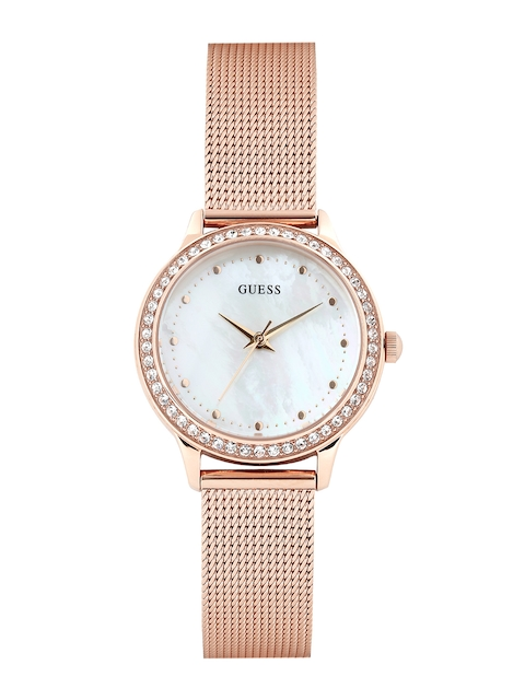 GUESS Women Pearly White Dial Watch w0647l2