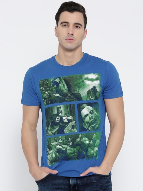 Batman by Free Authority Blue Printed T-shirt