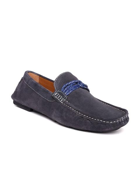 Bata Men Grey Suede Loafers