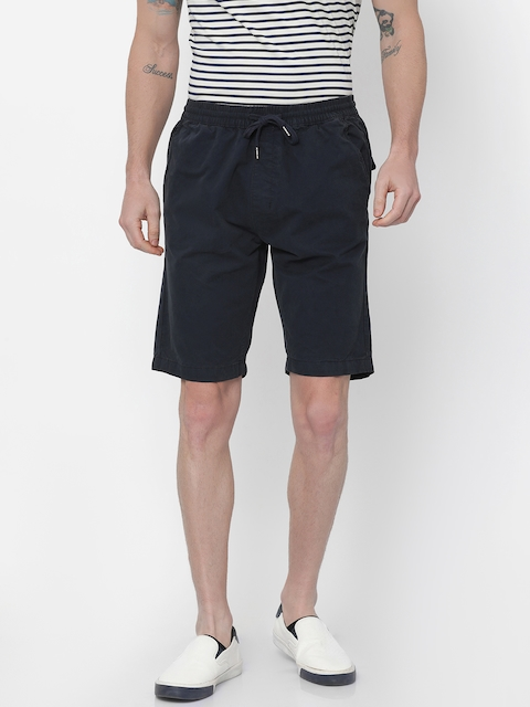 Nature Casuals Men Navy Blue Solid Slim Fit Chino Shorts