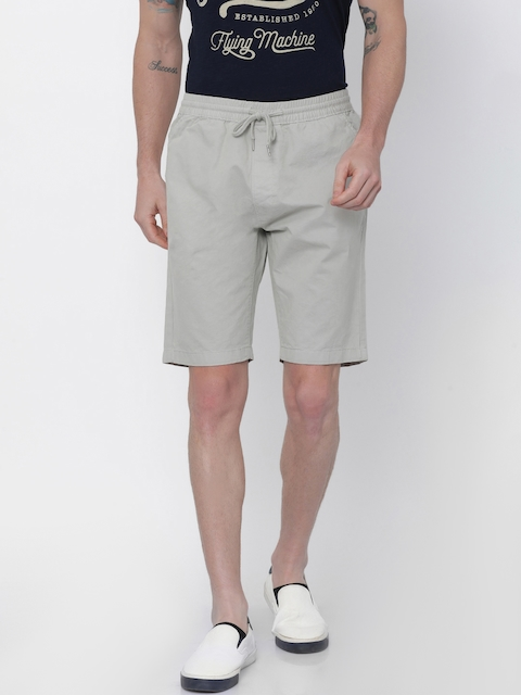 Nature Casuals Men Grey Solid Slim Fit Chino Shorts