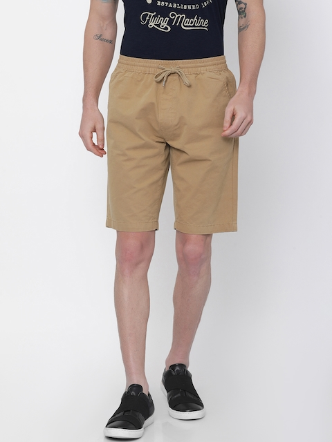 Nature Casuals Men Khaki Solid Slim Fit Chino Shorts