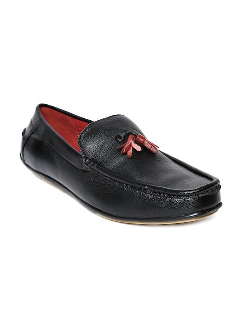 Bata Men Black Leather Loafers