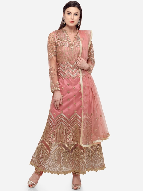 Stylee LIFESTYLE Pink & Gold-Toned Polyester Semi-Stitched Dress Material