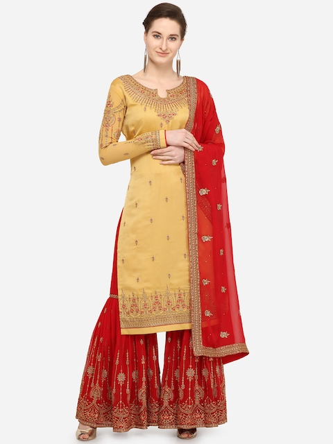 Stylee LIFESTYLE Yellow & Red Silk Blend Semi-Stitched Dress Material