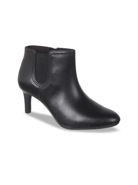 Clarks Women Black Solid Heeled Boots
