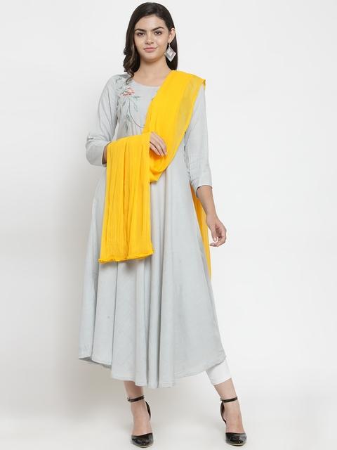 Kiaasa Women Yellow Solid Dupatta