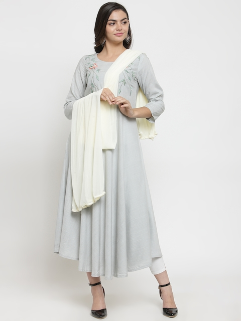 Kiaasa Women Off-White Solid Dupatta