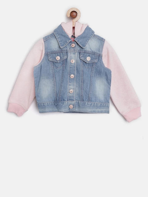 Nauti Nati Girls Blue & Pink Washed Hooded Denim Jacket