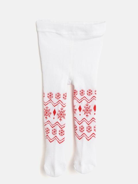 Nauti Nati Girls White & Red Self-Design Stockings