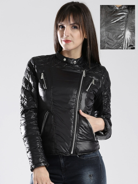 GAS Grey & Black Reversible Padded Biker Jacket