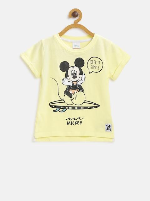 Fox Boys Yellow Printed Round Neck T-shirt