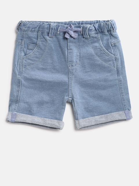 Fox Boys Blue Solid Regular Fit Denim Shorts
