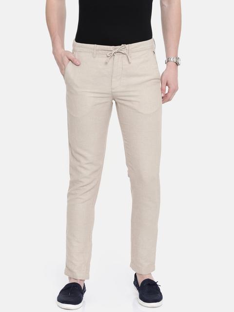 Jack & Jones Men Beige Slim Fit Self-Design Regular Trousers