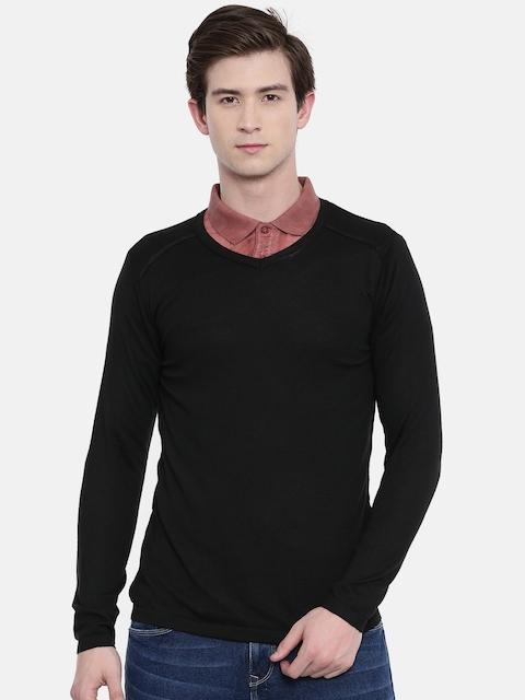 Jack & Jones Men Black Solid Sweater
