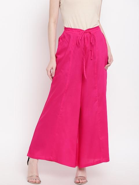 Ayaany Women Pink Solid Flared Palazzos