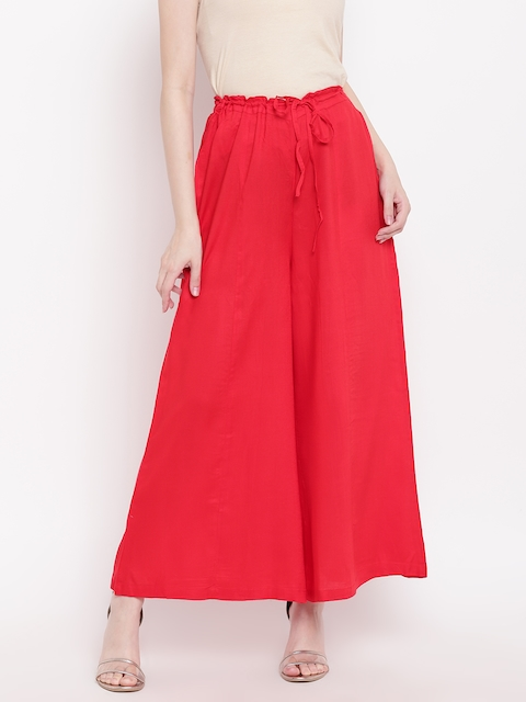 Ayaany Women Red Flared Solid Palazzos
