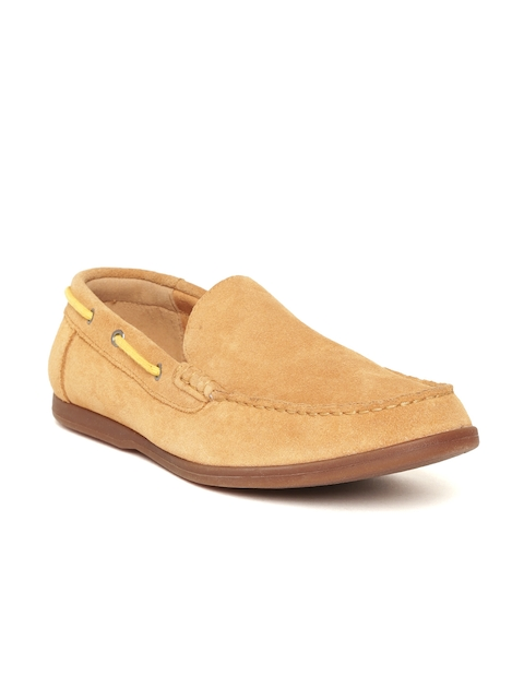Clarks Men Tan Brown Suede Loafers