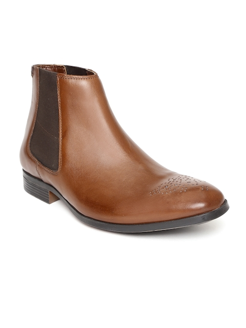 Clarks Men Brown Solid Leather Mid-Top Flat Boots
