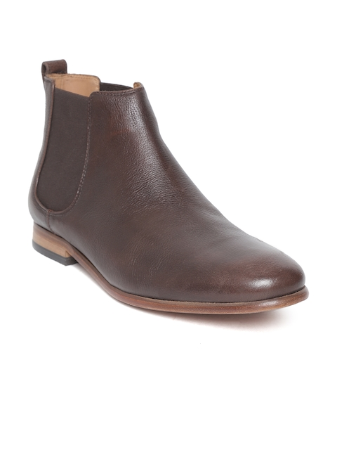 Clarks Men Brown Solid Leather Mid-Top Chelsea Boots