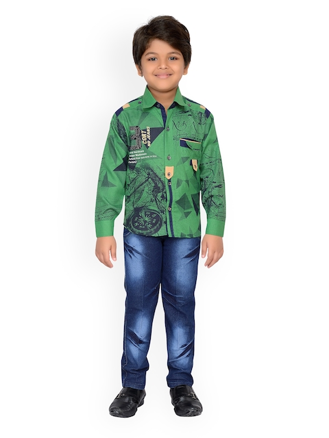 Kidling Boys Green & Blue Printed Shirt with Jeans