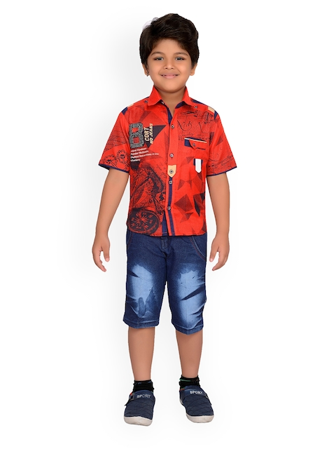 Kidling Boys Red & Blue Printed Shirt with Shorts