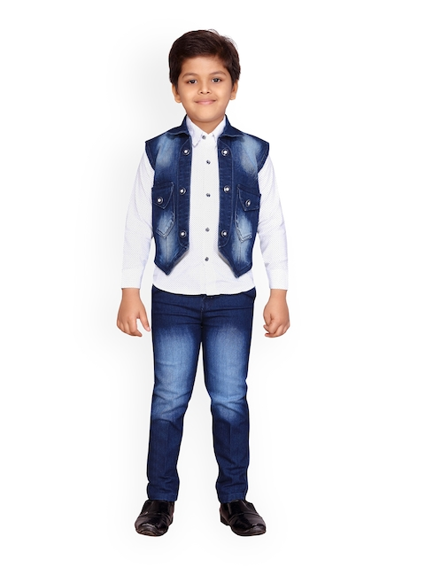Kidling Boys White & Blue Printed Shirt with Jeans