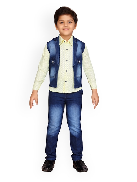 Kidling Boys Yellow & Blue Printed Shirt with Jeans and Waistcoat