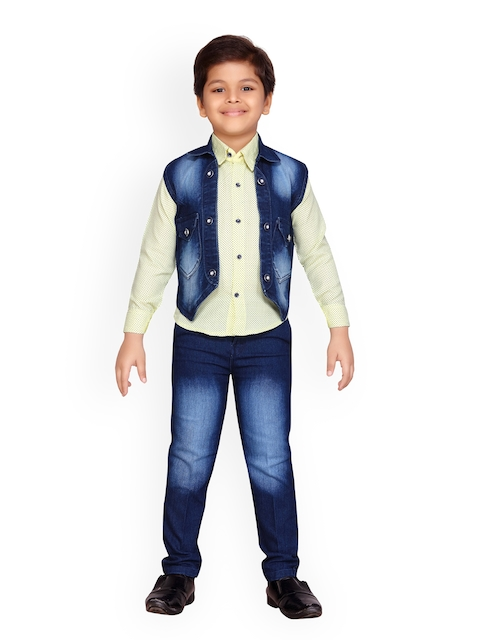 Kidling Boys Yellow & Blue Printed Shirt with Trousers and Waistcoat